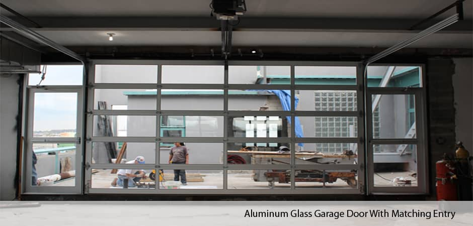 Aluminum-Glass-Garage-Door-With-Matching-Entry-